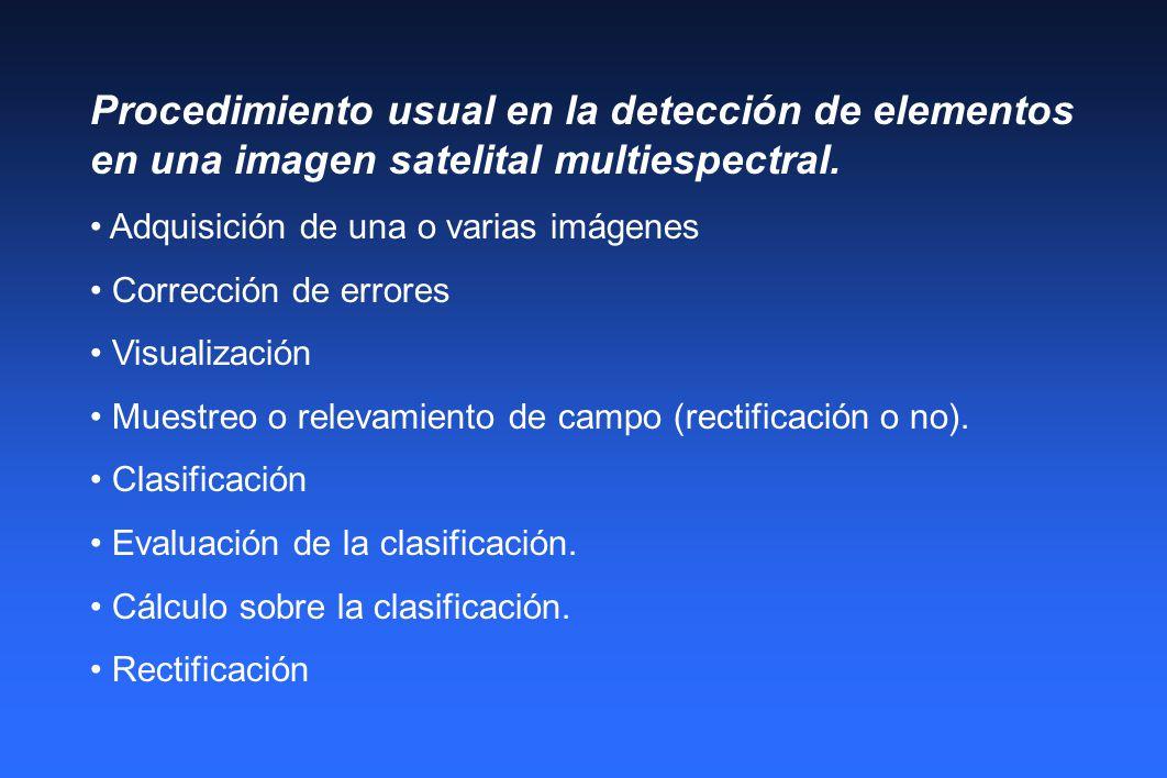 Procedimiento usual en la detección de elementos en una imagen satelital multiespectral. Adquisición de una o varias imágenes Corrección de errores Vi