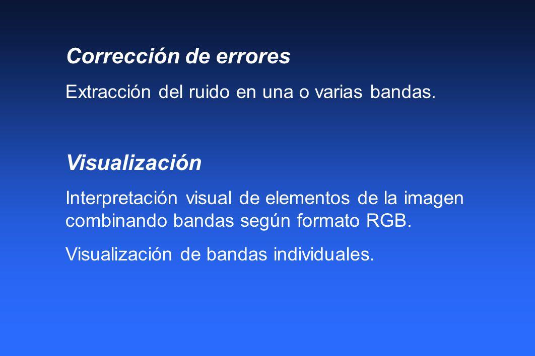 Corrección de errores Extracción del ruido en una o varias bandas. Visualización Interpretación visual de elementos de la imagen combinando bandas seg