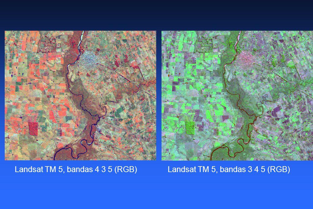 Landsat TM 5, bandas 4 3 5 (RGB)Landsat TM 5, bandas 3 4 5 (RGB)