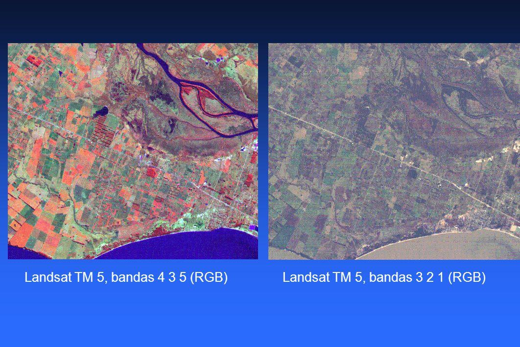 Landsat TM 5, bandas 4 3 5 (RGB)Landsat TM 5, bandas 3 2 1 (RGB)