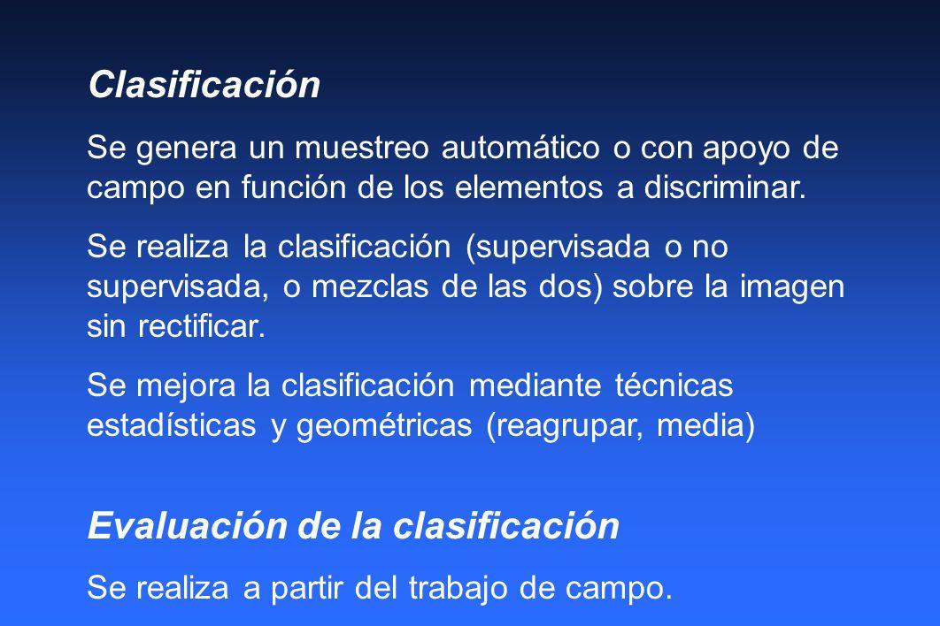 Clasificación Se genera un muestreo automático o con apoyo de campo en función de los elementos a discriminar. Se realiza la clasificación (supervisad