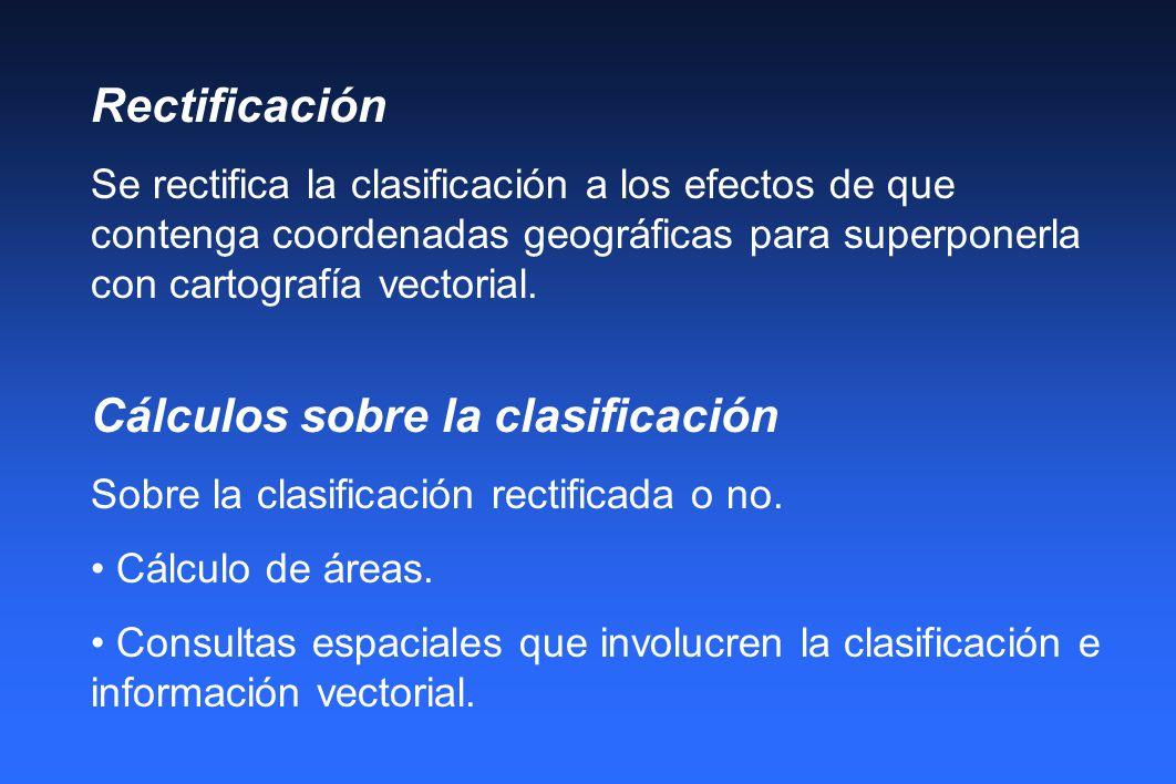 Rectificación Se rectifica la clasificación a los efectos de que contenga coordenadas geográficas para superponerla con cartografía vectorial. Cálculo