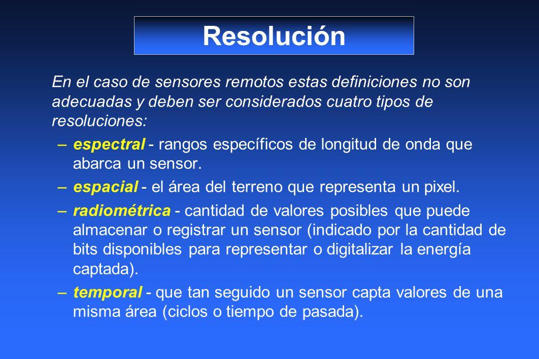 En el caso de sensores remotos estas definiciones no son adecuadas y deben ser considerados cuatro tipos de resoluciones: –espectral - rangos específicos de longitud de onda que abarca un sensor.