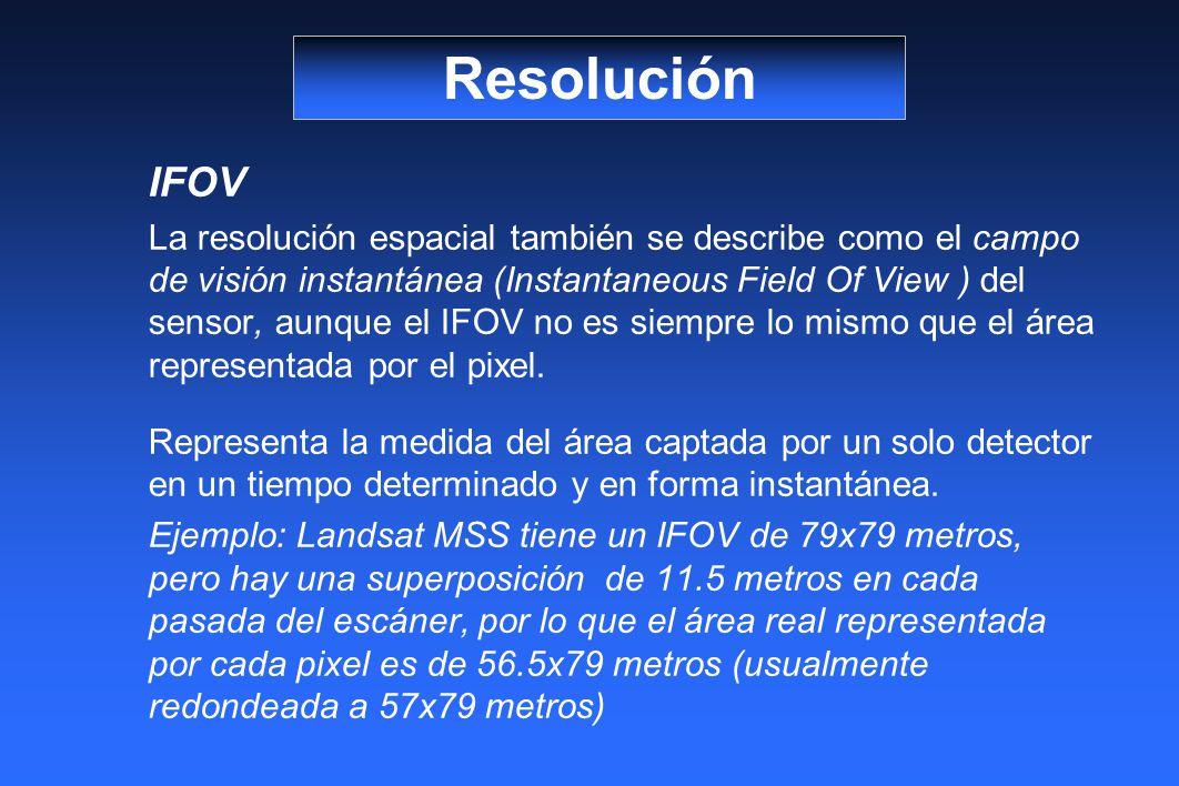 IFOV La resolución espacial también se describe como el campo de visión instantánea (Instantaneous Field Of View ) del sensor, aunque el IFOV no es siempre lo mismo que el área representada por el pixel.