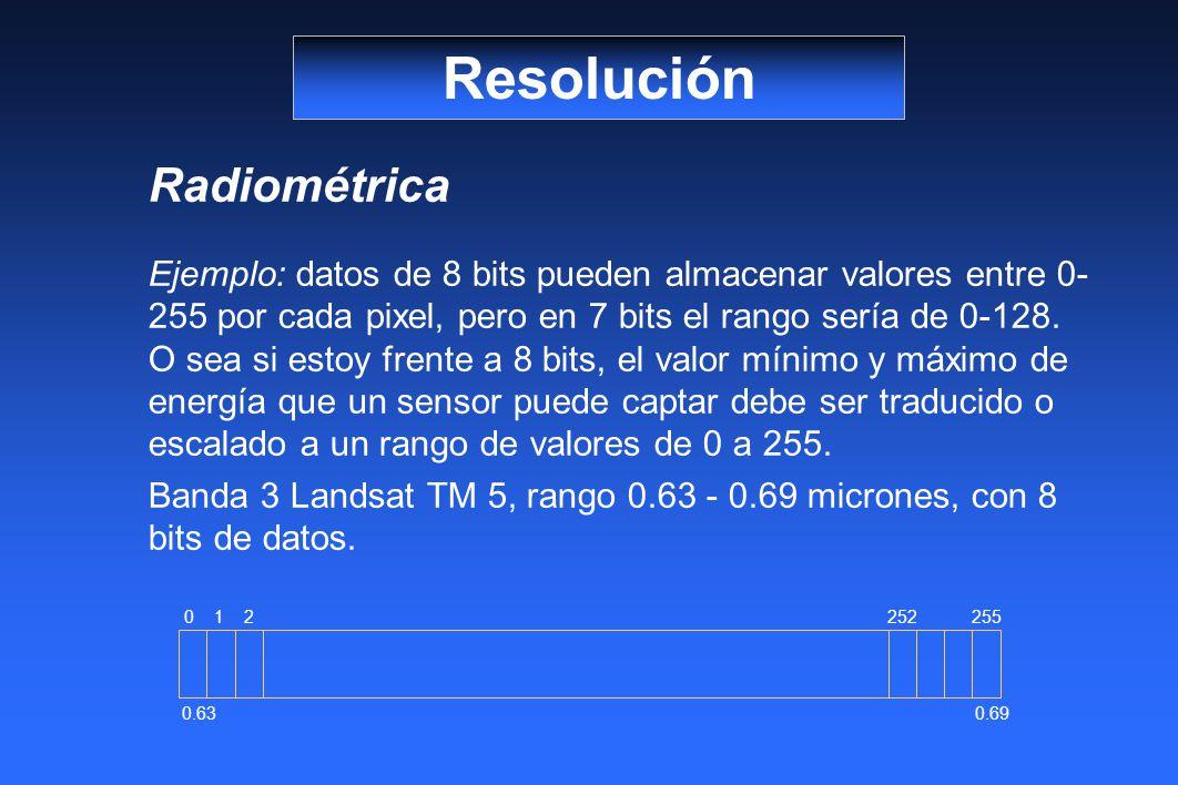 Radiométrica Ejemplo: datos de 8 bits pueden almacenar valores entre 0- 255 por cada pixel, pero en 7 bits el rango sería de 0-128.