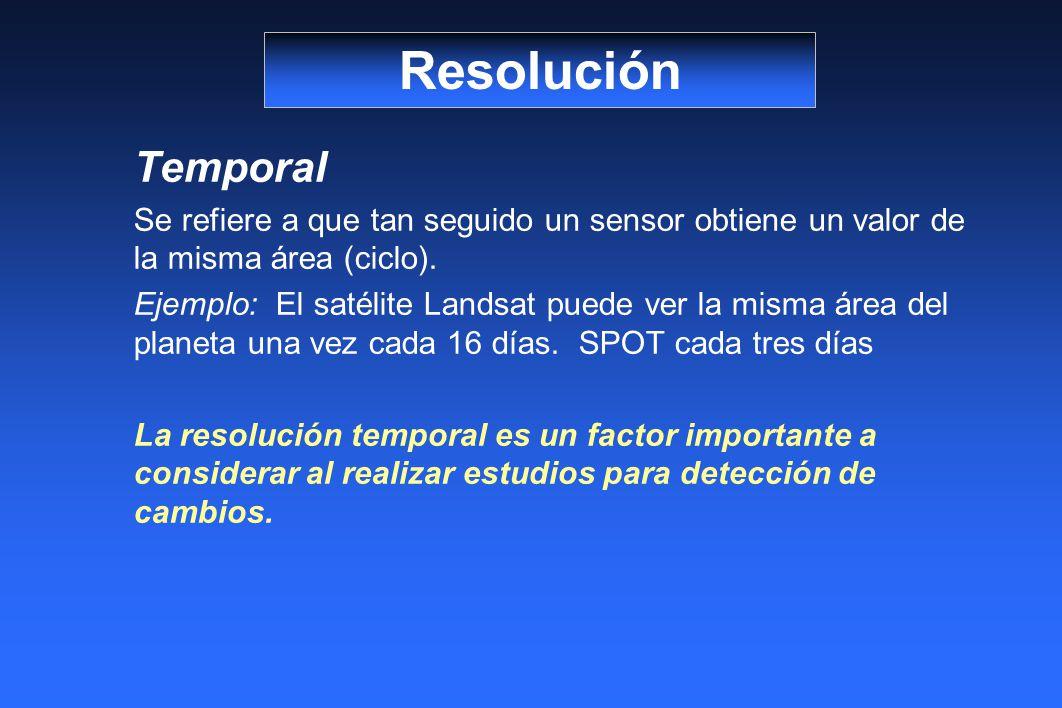 Temporal Se refiere a que tan seguido un sensor obtiene un valor de la misma área (ciclo).