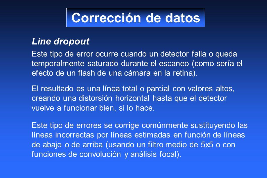 Line dropout Este tipo de error ocurre cuando un detector falla o queda temporalmente saturado durante el escaneo (como sería el efecto de un flash de una cámara en la retina).