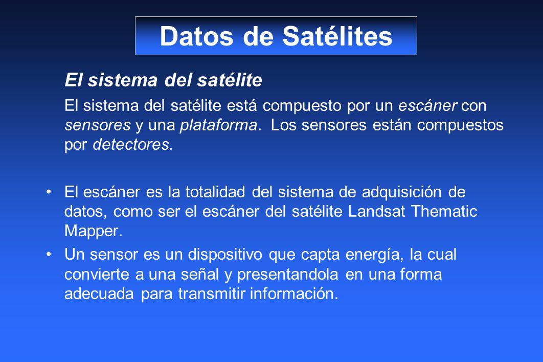 El sistema del satélite El sistema del satélite está compuesto por un escáner con sensores y una plataforma. Los sensores están compuestos por detecto
