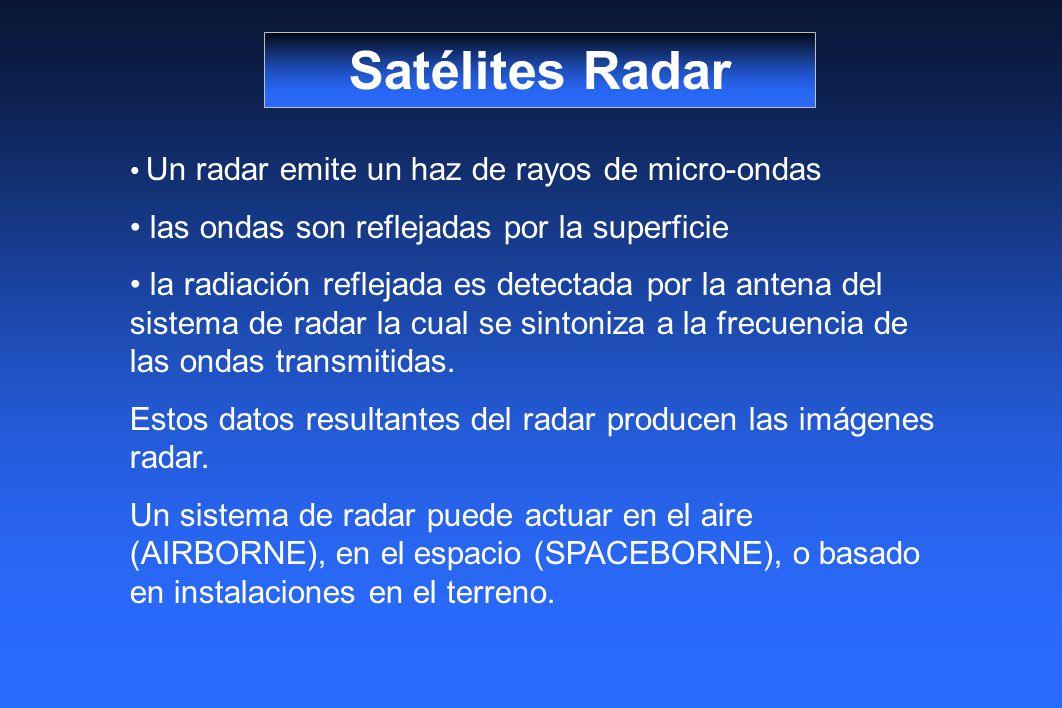 Satélites Radar Un radar emite un haz de rayos de micro-ondas las ondas son reflejadas por la superficie la radiación reflejada es detectada por la antena del sistema de radar la cual se sintoniza a la frecuencia de las ondas transmitidas.