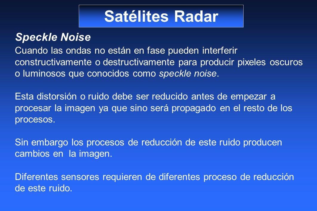 Satélites Radar Speckle Noise Cuando las ondas no están en fase pueden interferir constructivamente o destructivamente para producir pixeles oscuros o luminosos que conocidos como speckle noise.