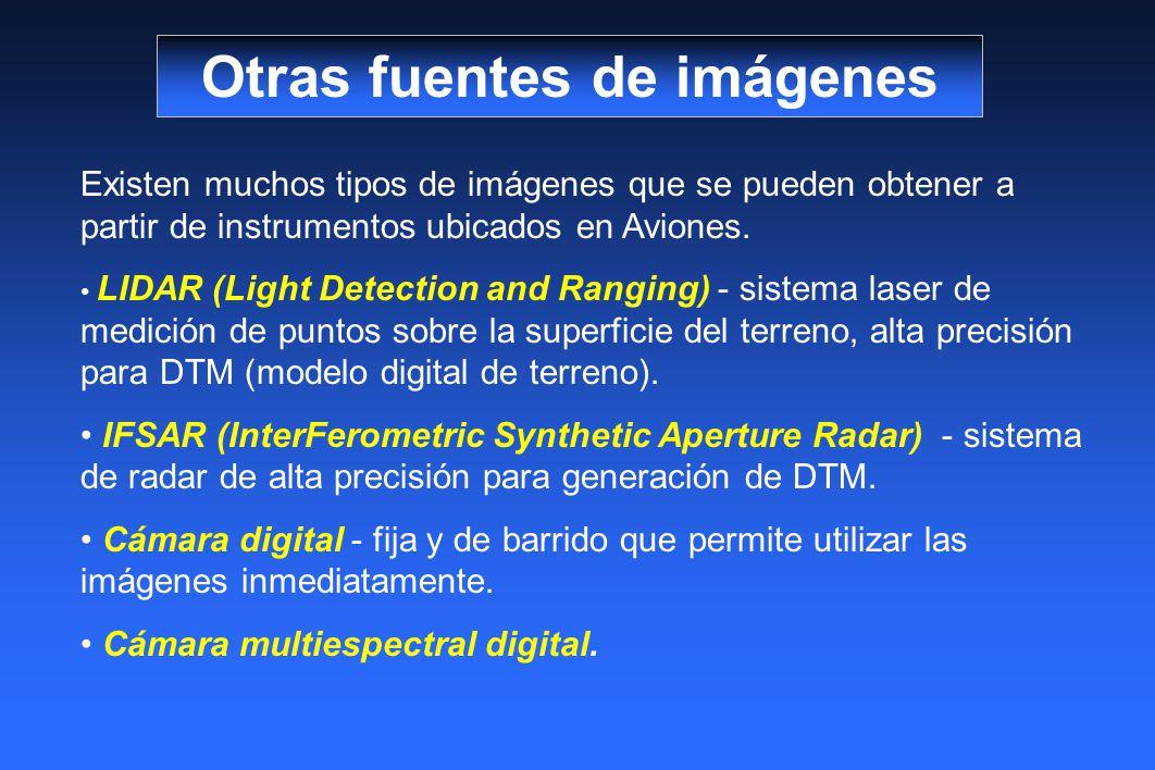 Otras fuentes de imágenes Existen muchos tipos de imágenes que se pueden obtener a partir de instrumentos ubicados en Aviones. LIDAR (Light Detection