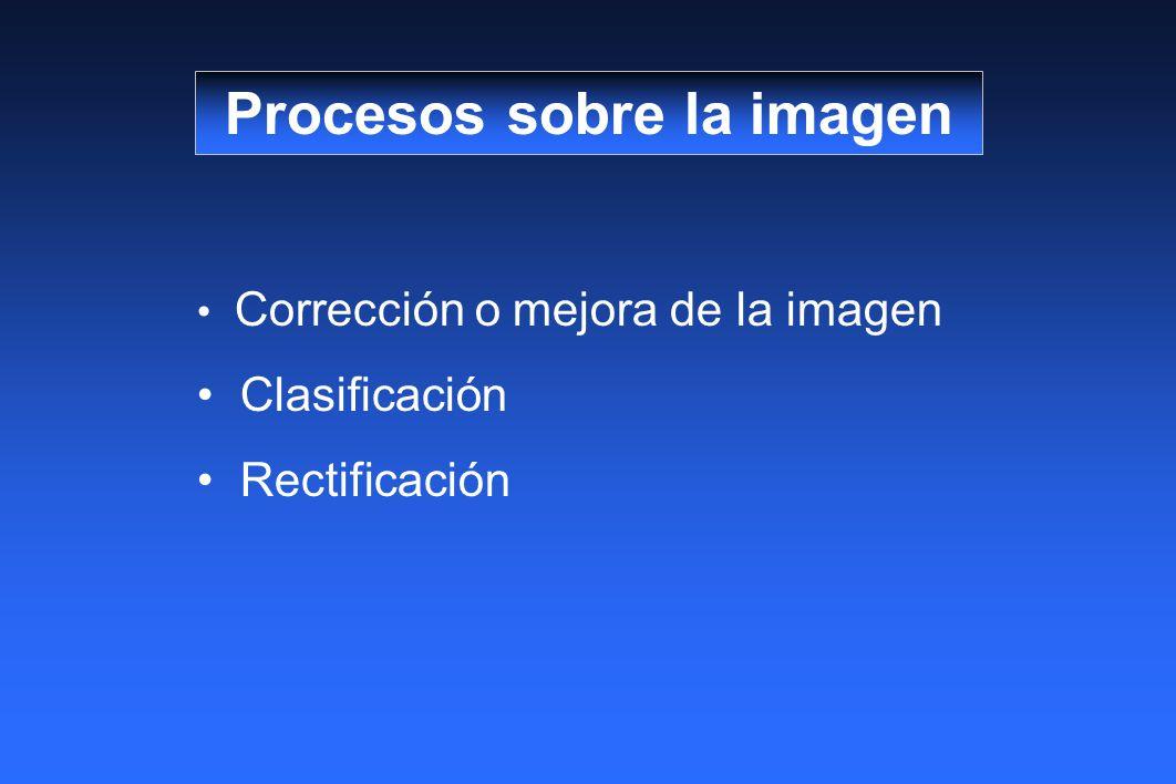 Corrección o mejora de la imagen Clasificación Rectificación Procesos sobre la imagen