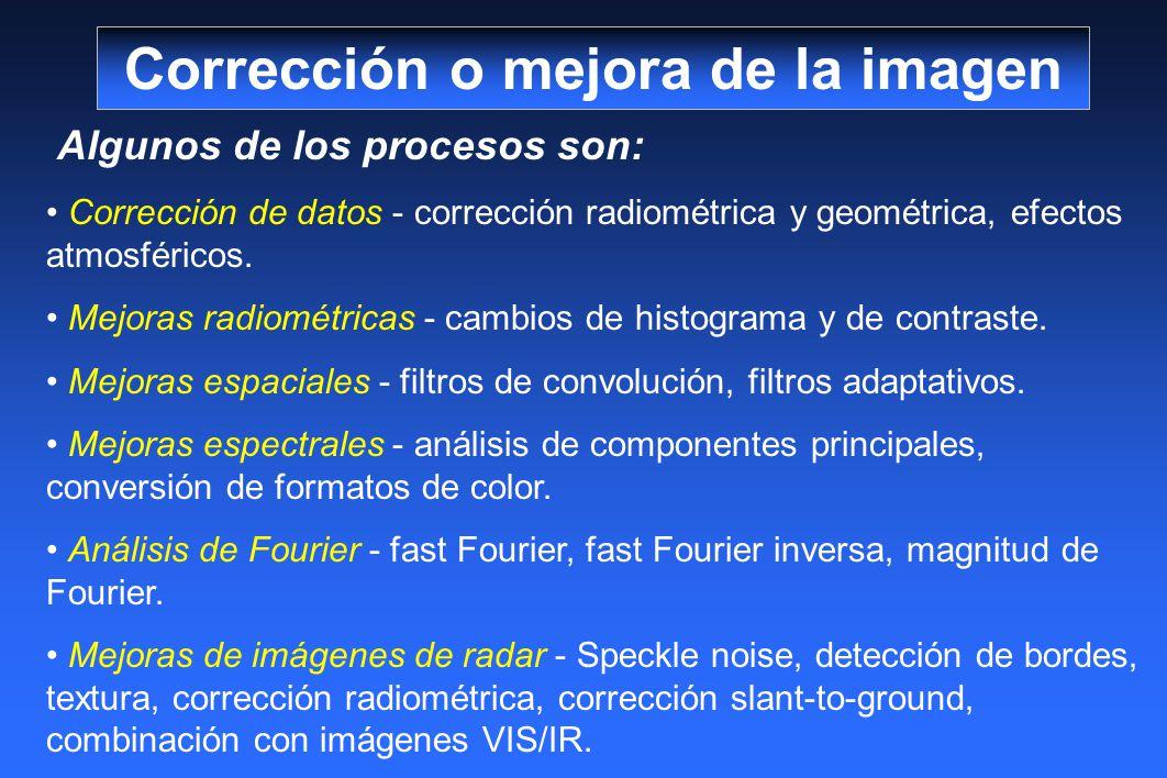 Algunos de los procesos son: Corrección de datos - corrección radiométrica y geométrica, efectos atmosféricos. Mejoras radiométricas - cambios de hist