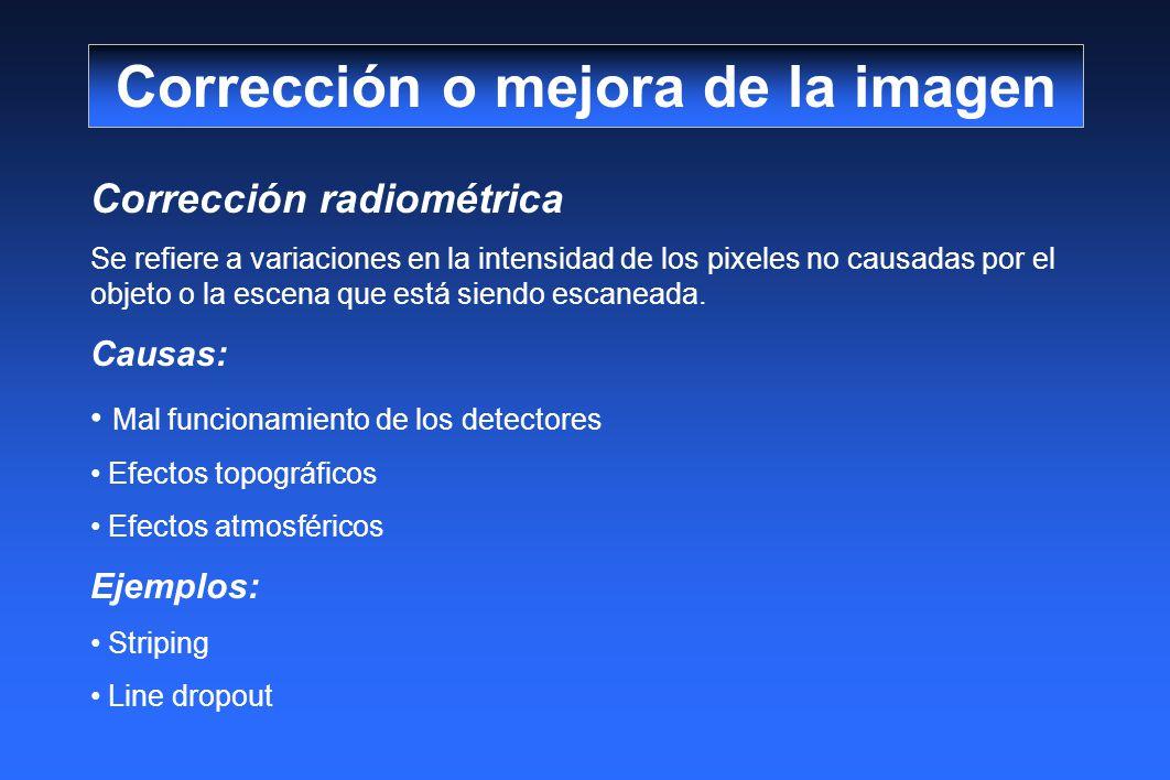 Corrección radiométrica Se refiere a variaciones en la intensidad de los pixeles no causadas por el objeto o la escena que está siendo escaneada. Caus