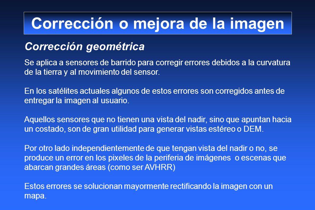 Corrección geométrica Se aplica a sensores de barrido para corregir errores debidos a la curvatura de la tierra y al movimiento del sensor. En los sat