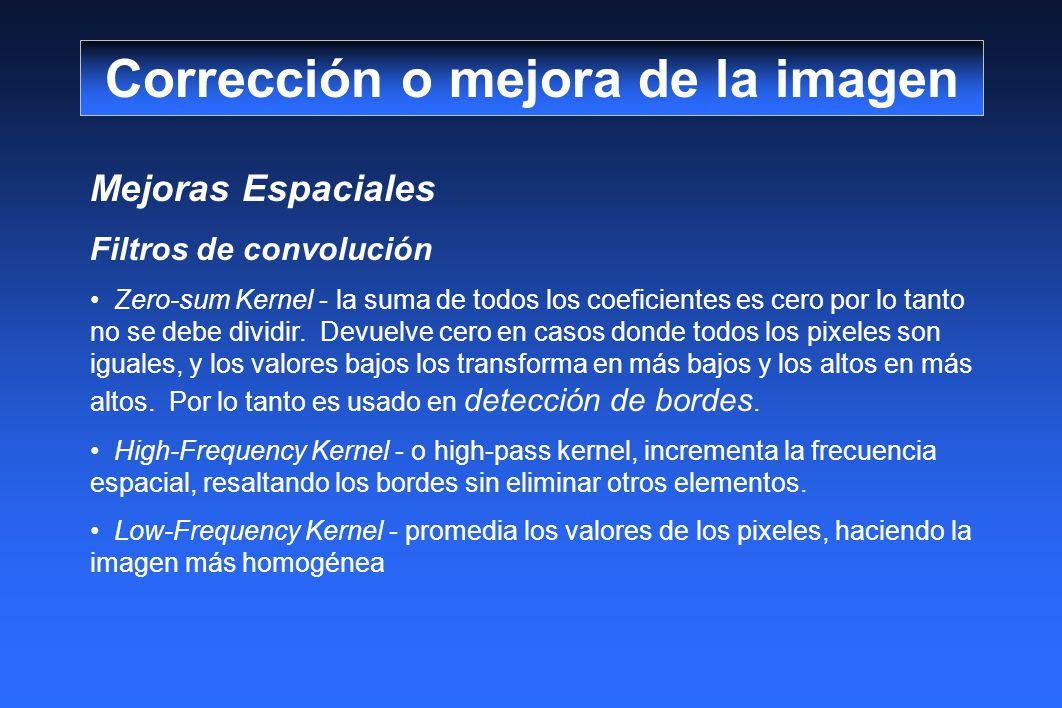 Mejoras Espaciales Filtros de convolución Zero-sum Kernel - la suma de todos los coeficientes es cero por lo tanto no se debe dividir. Devuelve cero e