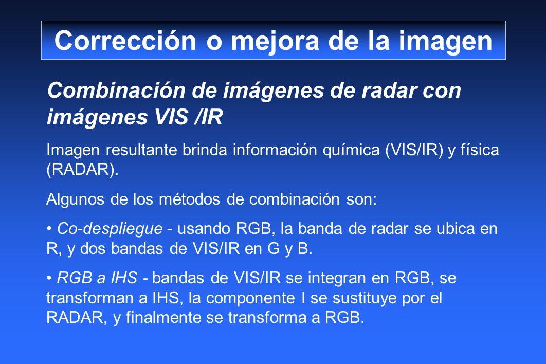 Combinación de imágenes de radar con imágenes VIS /IR Imagen resultante brinda información química (VIS/IR) y física (RADAR). Algunos de los métodos d