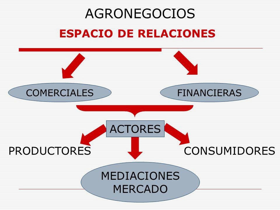 AGRONEGOCIOS ESPACIO DE RELACIONES COMERCIALESFINANCIERAS PRODUCTORESCONSUMIDORES ACTORES MEDIACIONES MERCADO