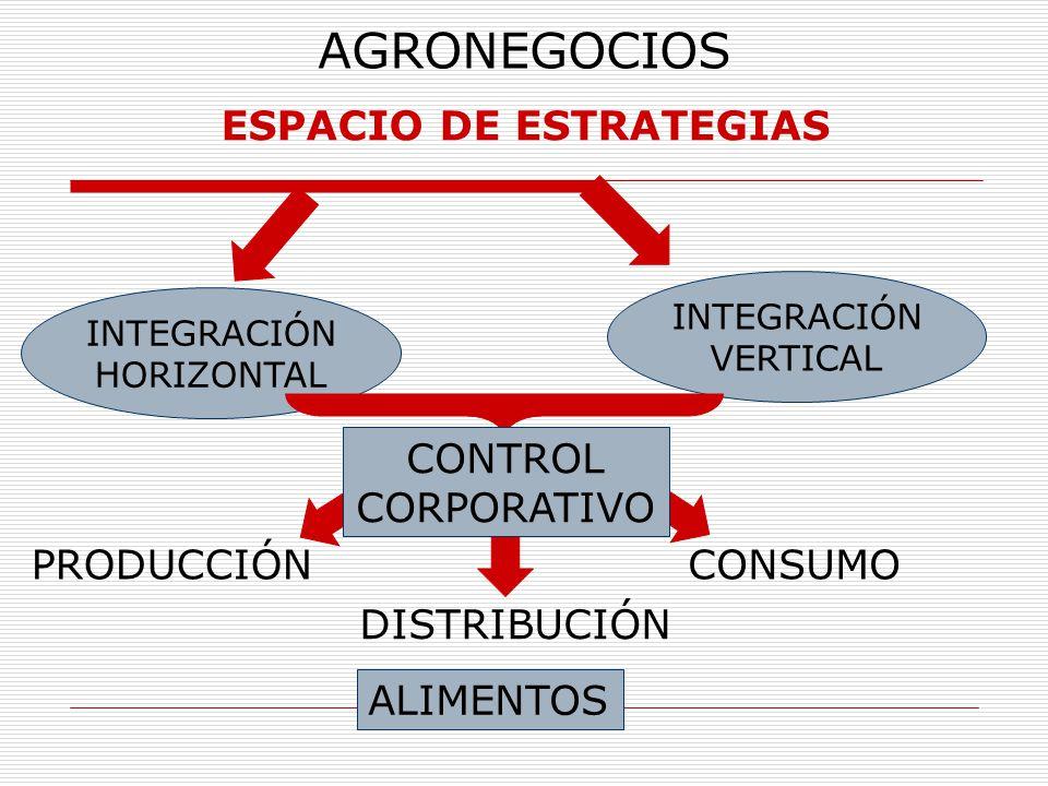 AGRONEGOCIOS ESPACIO DE ESTRATEGIAS INTEGRACIÓN HORIZONTAL INTEGRACIÓN VERTICAL PRODUCCIÓNCONSUMO CONTROL CORPORATIVO DISTRIBUCIÓN ALIMENTOS