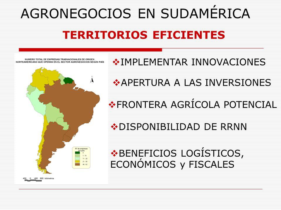 AGRONEGOCIOS EN SUDAMÉRICA TERRITORIOS EFICIENTES IMPLEMENTAR INNOVACIONES APERTURA A LAS INVERSIONES FRONTERA AGRÍCOLA POTENCIAL DISPONIBILIDAD DE RR