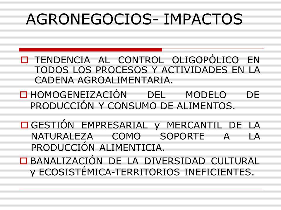 AGRONEGOCIOS- IMPACTOS TENDENCIA AL CONTROL OLIGOPÓLICO EN TODOS LOS PROCESOS Y ACTIVIDADES EN LA CADENA AGROALIMENTARIA. HOMOGENEIZACIÓN DEL MODELO D
