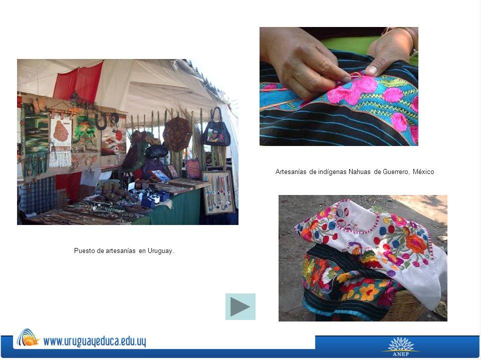 Puesto de artesanías en Uruguay. Artesanías de indígenas Nahuas de Guerrero, México