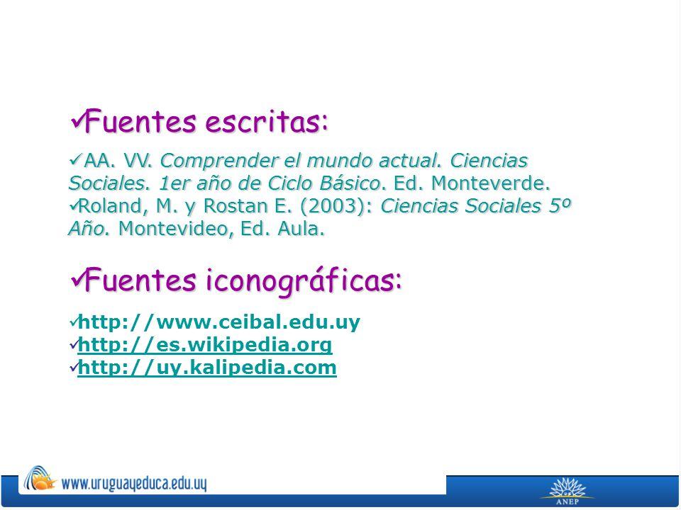 Fuentes escritas: Fuentes escritas: AA. VV. Comprender el mundo actual. Ciencias Sociales. 1er año de Ciclo Básico. Ed. Monteverde. AA. VV. Comprender