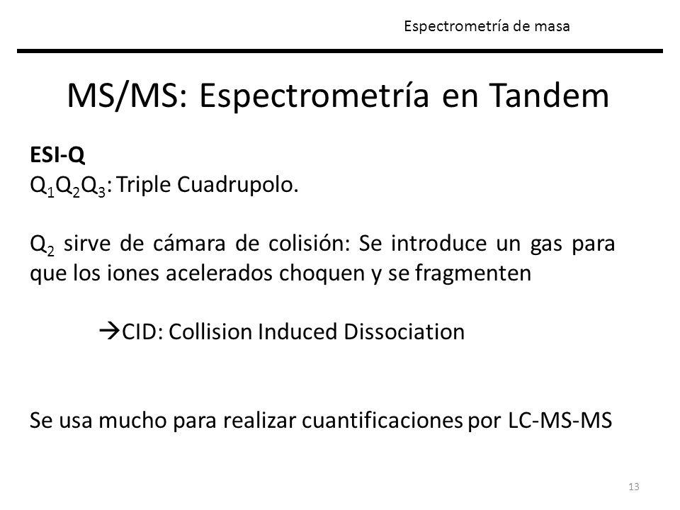 13 MS/MS: Espectrometría en Tandem Espectrometría de masa ESI-Q Q 1 Q 2 Q 3 : Triple Cuadrupolo. Q 2 sirve de cámara de colisión: Se introduce un gas