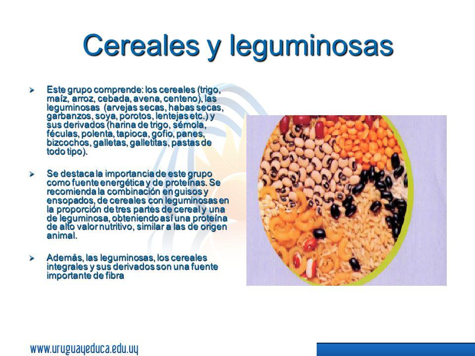 Cereales y leguminosas Este grupo comprende: los cereales (trigo, maíz, arroz, cebada, avena, centeno), las leguminosas (arvejas secas, habas secas, garbanzos, soya, porotos, lentejas etc.) y sus derivados (harina de trigo, sémola, féculas, polenta, tapioca, gofio, panes, bizcochos, galletas, galletitas, pastas de todo tipo).