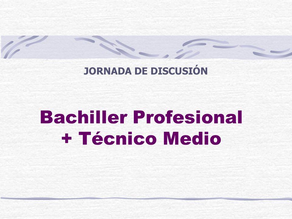 Bachiller Profesional + Técnico Medio JORNADA DE DISCUSIÓN