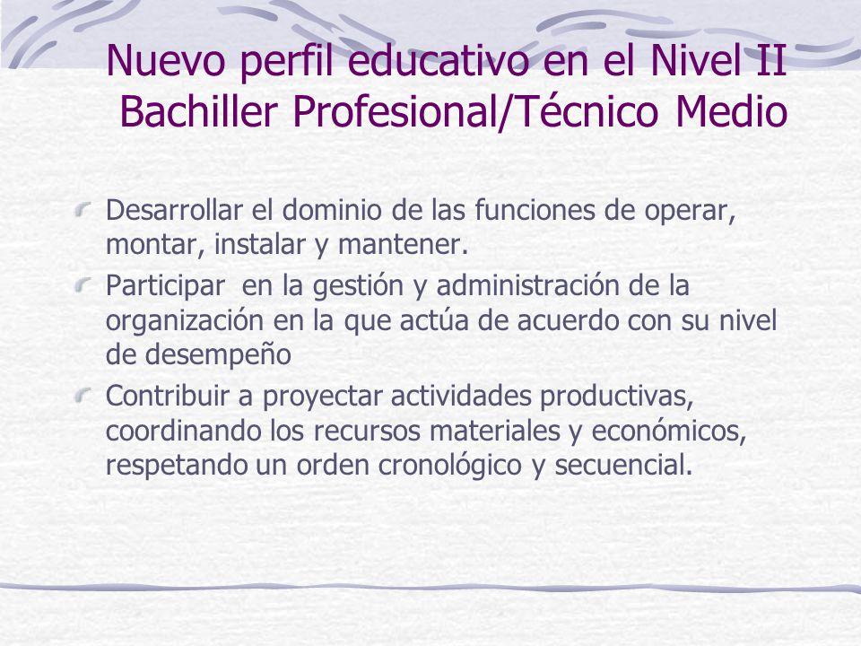 Nuevo perfil educativo en el Nivel II Bachiller Profesional/Técnico Medio Desarrollar el dominio de las funciones de operar, montar, instalar y mantener.