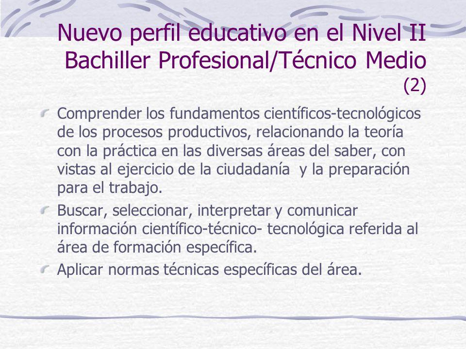 Nuevo perfil educativo en el Nivel II Bachiller Profesional/Técnico Medio (2) Comprender los fundamentos científicos-tecnológicos de los procesos productivos, relacionando la teoría con la práctica en las diversas áreas del saber, con vistas al ejercicio de la ciudadanía y la preparación para el trabajo.