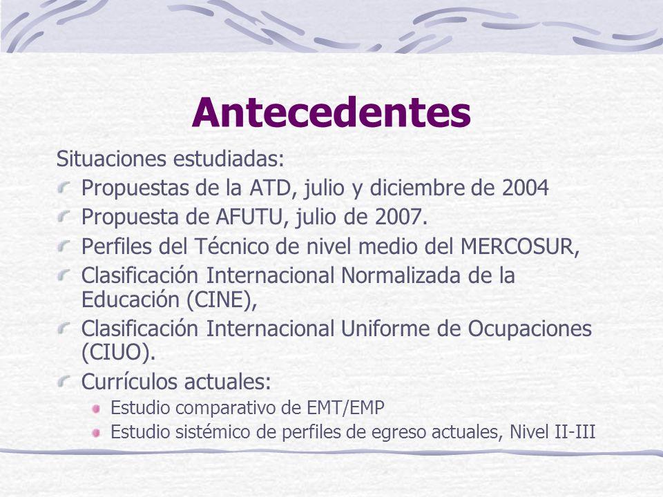 Antecedentes Situaciones estudiadas: Propuestas de la ATD, julio y diciembre de 2004 Propuesta de AFUTU, julio de 2007.