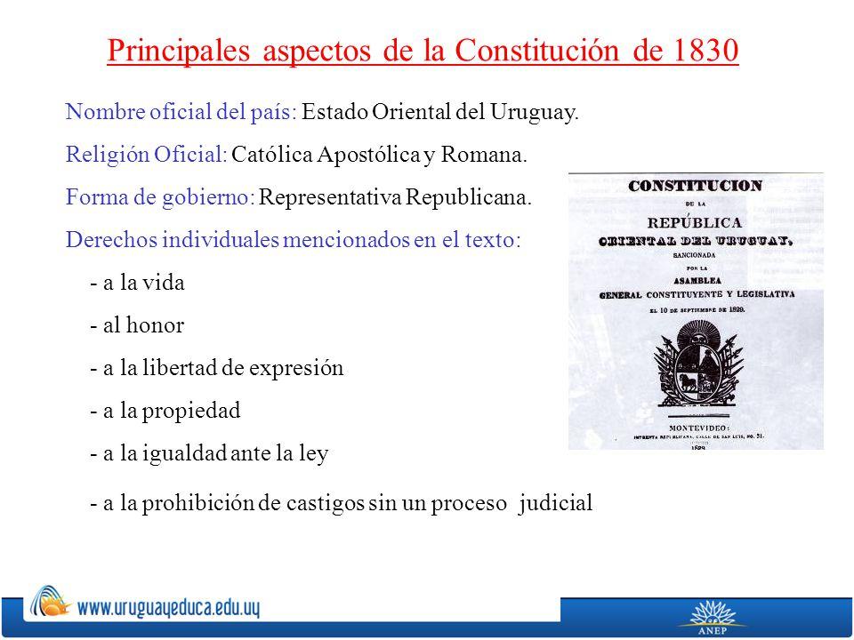 Principales aspectos de la Constitución de 1830 Nombre oficial del país: Estado Oriental del Uruguay. Religión Oficial: Católica Apostólica y Romana.