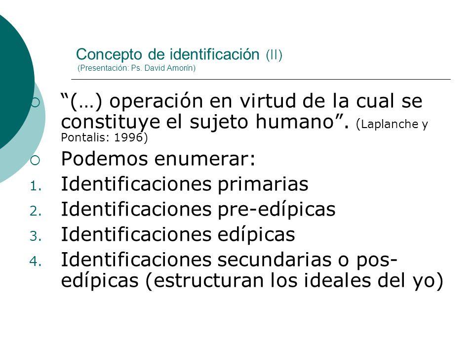 Concepto de identificación (II) (Presentación: Ps. David Amorín) (…) operación en virtud de la cual se constituye el sujeto humano. ( Laplanche y Pont
