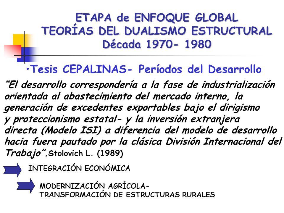 ETAPA de ENFOQUE GLOBAL TEORÍAS DEL DUALISMO ESTRUCTURAL Década 1970- 1980 Tesis CEPALINAS- Períodos del Desarrollo El desarrollo correspondería a la fase de industrialización orientada al abastecimiento del mercado interno, la generación de excedentes exportables bajo el dirigismo y proteccionismo estatal- y la inversión extranjera directa (Modelo ISI) a diferencia del modelo de desarrollo hacia fuera pautado por la clásica División Internacional del Trabajo.