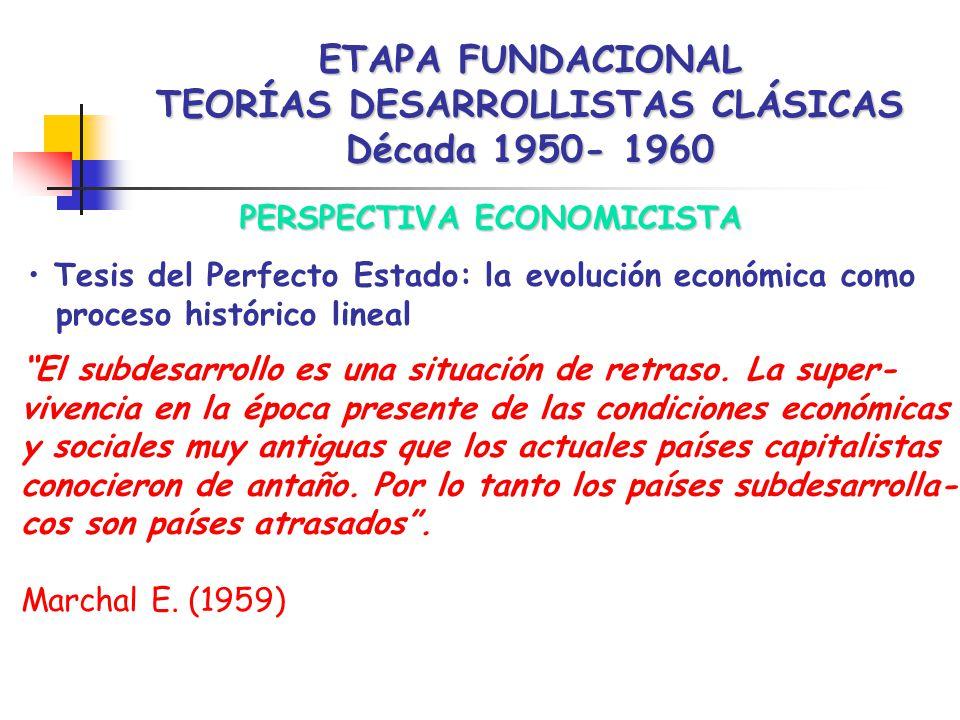 ETAPA FUNDACIONAL TEORÍAS DESARROLLISTAS CLÁSICAS Década 1950- 1960 PERSPECTIVA ECONOMICISTA Tesis del Perfecto Estado: la evolución económica como proceso histórico lineal El subdesarrollo es una situación de retraso.