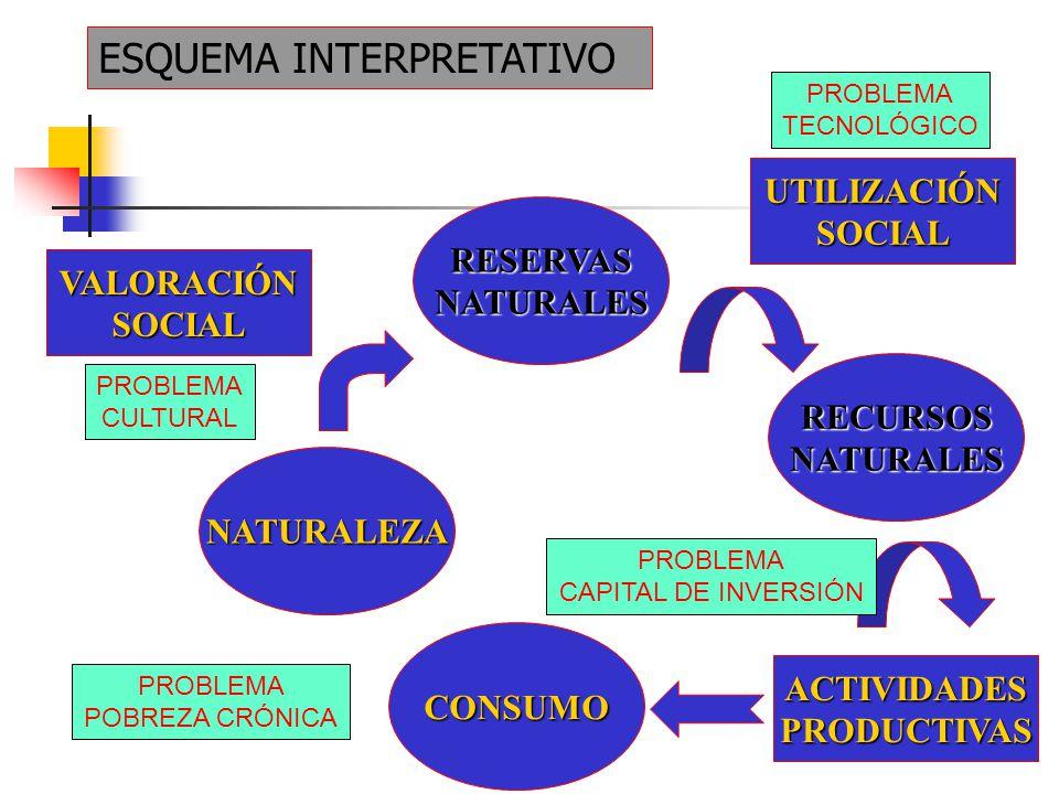 ESQUEMA INTERPRETATIVO VALORACIÓNSOCIAL NATURALEZA RESERVASNATURALES RECURSOSNATURALES ACTIVIDADESPRODUCTIVAS UTILIZACIÓNSOCIAL CONSUMO PROBLEMA CULTURAL PROBLEMA TECNOLÓGICO PROBLEMA CAPITAL DE INVERSIÓN PROBLEMA POBREZA CRÓNICA