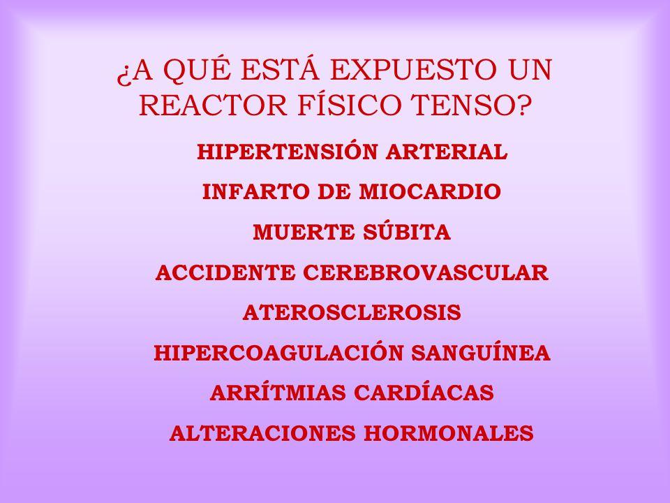 ¿A QUÉ ESTÁ EXPUESTO UN REACTOR FÍSICO TENSO? HIPERTENSIÓN ARTERIAL INFARTO DE MIOCARDIO MUERTE SÚBITA ACCIDENTE CEREBROVASCULAR ATEROSCLEROSIS HIPERC