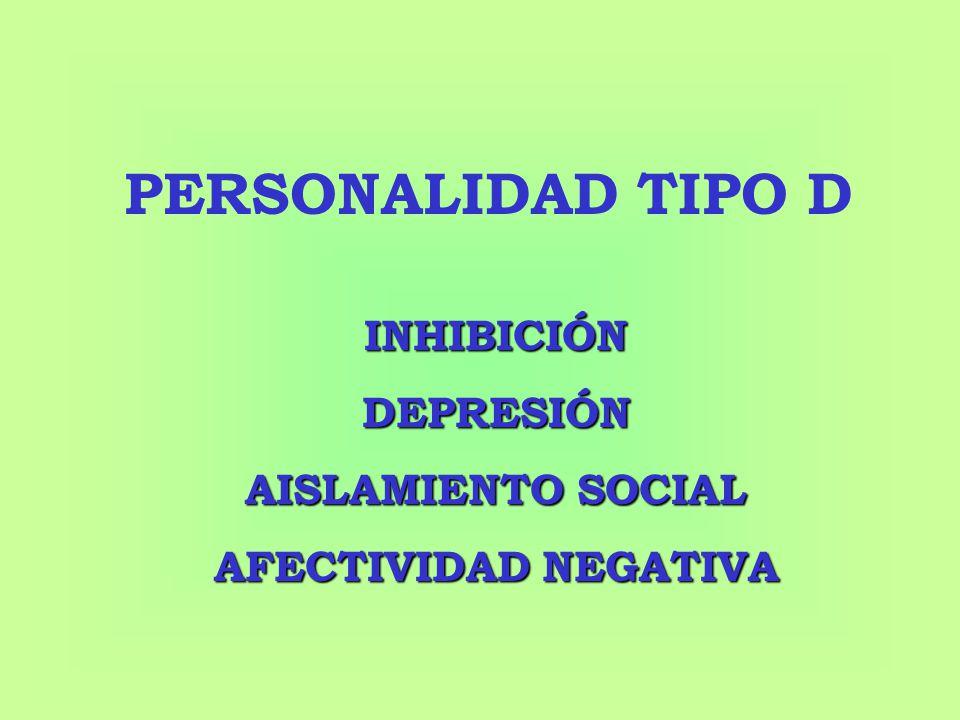 PERSONALIDAD TIPO D INHIBICIÓN DEPRESIÓN AISLAMIENTO SOCIAL AFECTIVIDAD NEGATIVA