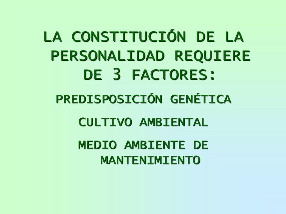 LA CONSTITUCIÓN DE LA PERSONALIDAD REQUIERE DE 3 FACTORES: PREDISPOSICIÓN GENÉTICA CULTIVO AMBIENTAL MEDIO AMBIENTE DE MANTENIMIENTO