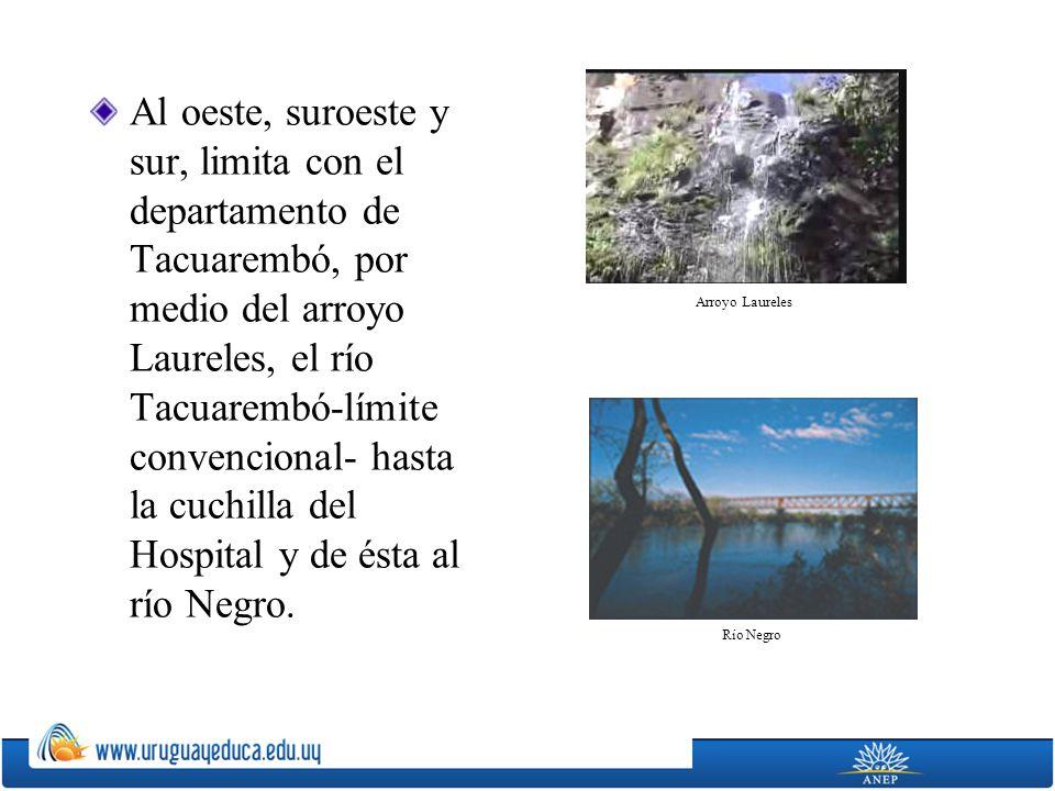 Al oeste, suroeste y sur, limita con el departamento de Tacuarembó, por medio del arroyo Laureles, el río Tacuarembó-límite convencional- hasta la cuc