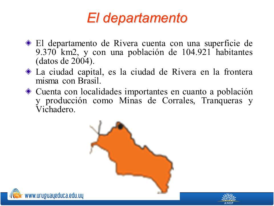 El departamento El departamento de Rivera cuenta con una superficie de 9.370 km2, y con una población de 104.921 habitantes (datos de 2004). La ciudad