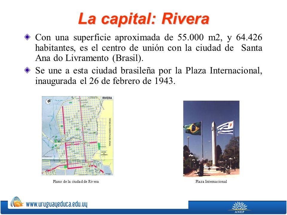 La capital: Rivera Con una superficie aproximada de 55.000 m2, y 64.426 habitantes, es el centro de unión con la ciudad de Santa Ana do Livramento (Br