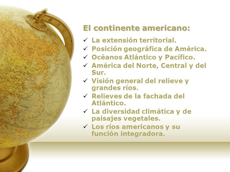 El continente americano América es un continente de gran originalidad por: su situación geográfica, el sentido del desarrollo de sus tierras (dispuestas de norte a sur), la variada naturaleza de su ambiente físico y las características particulares de su poblamiento.
