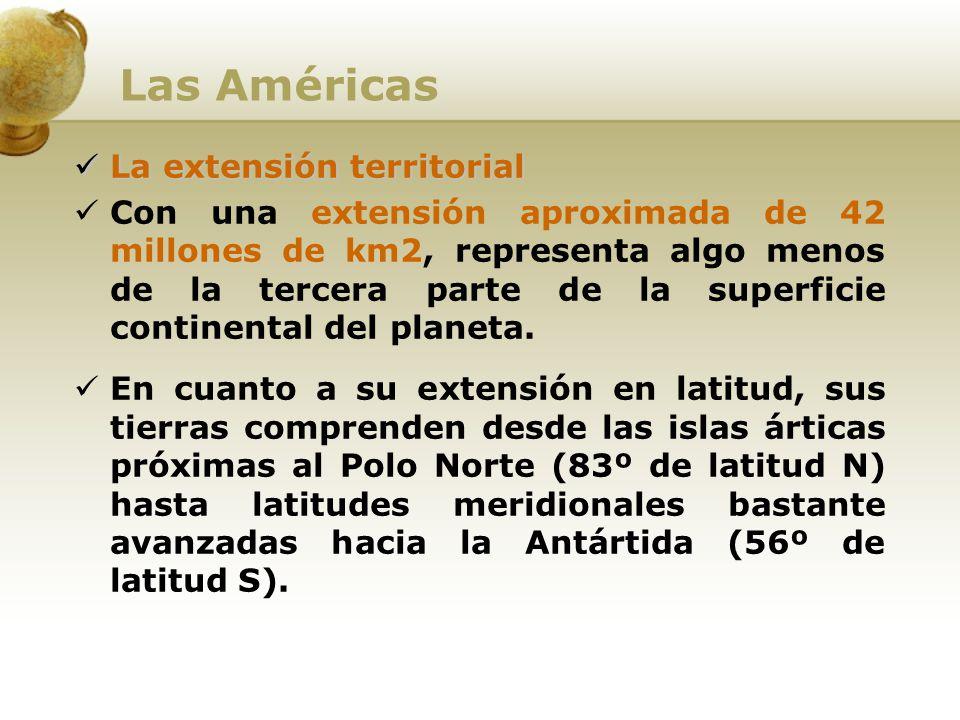 Las Américas La extensión territorial Con una extensión aproximada de 42 millones de km2, representa algo menos de la tercera parte de la superficie c