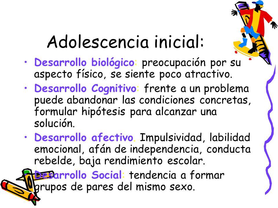 Adolescencia inicial: Desarrollo biológico: preocupación por su aspecto físico, se siente poco atractivo. Desarrollo Cognitivo: frente a un problema p