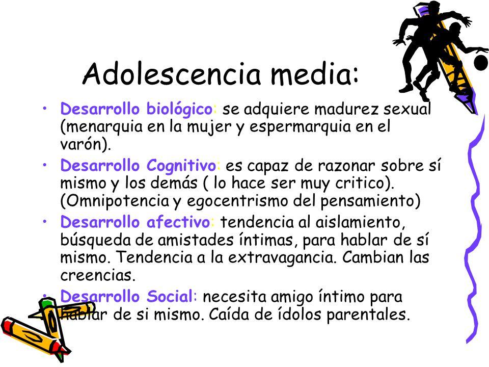 Adolescencia media: Desarrollo biológico: se adquiere madurez sexual (menarquia en la mujer y espermarquia en el varón). Desarrollo Cognitivo: es capa