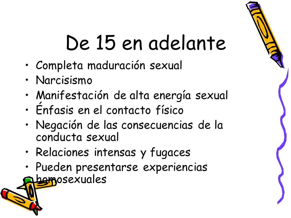 De 15 en adelante Completa maduración sexual Narcisismo Manifestación de alta energía sexual Énfasis en el contacto físico Negación de las consecuencias de la conducta sexual Relaciones intensas y fugaces Pueden presentarse experiencias homosexuales