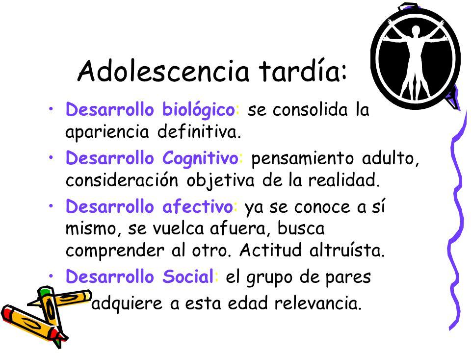Adolescencia tardía: Desarrollo biológico: se consolida la apariencia definitiva. Desarrollo Cognitivo: pensamiento adulto, consideración objetiva de